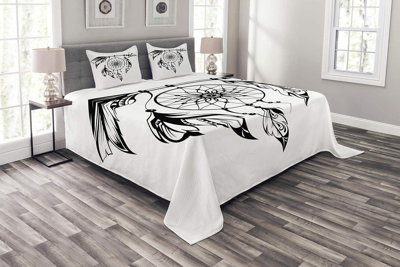 魅力的なトライバルベッドスプレッド ネイティブアメリカン 手描きスタイル ドリームキャッチャー エスニックプリント 装飾キルトカバーセット 枕カバー付き ブラックとホワイト クイーン bed_26732_queen B07HHBQ8GJ マルチ1 クイーン