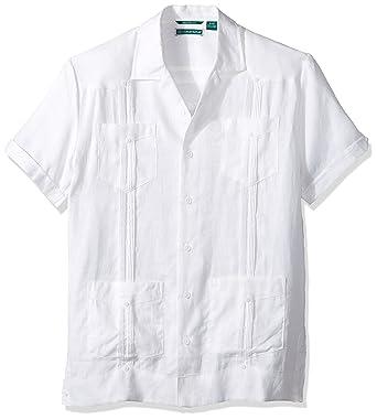 b86cd2f723 Cubavera Men s Slim Fit Short Sleeve 100% Linen Guayabera Shirt Bright  White XX-Large