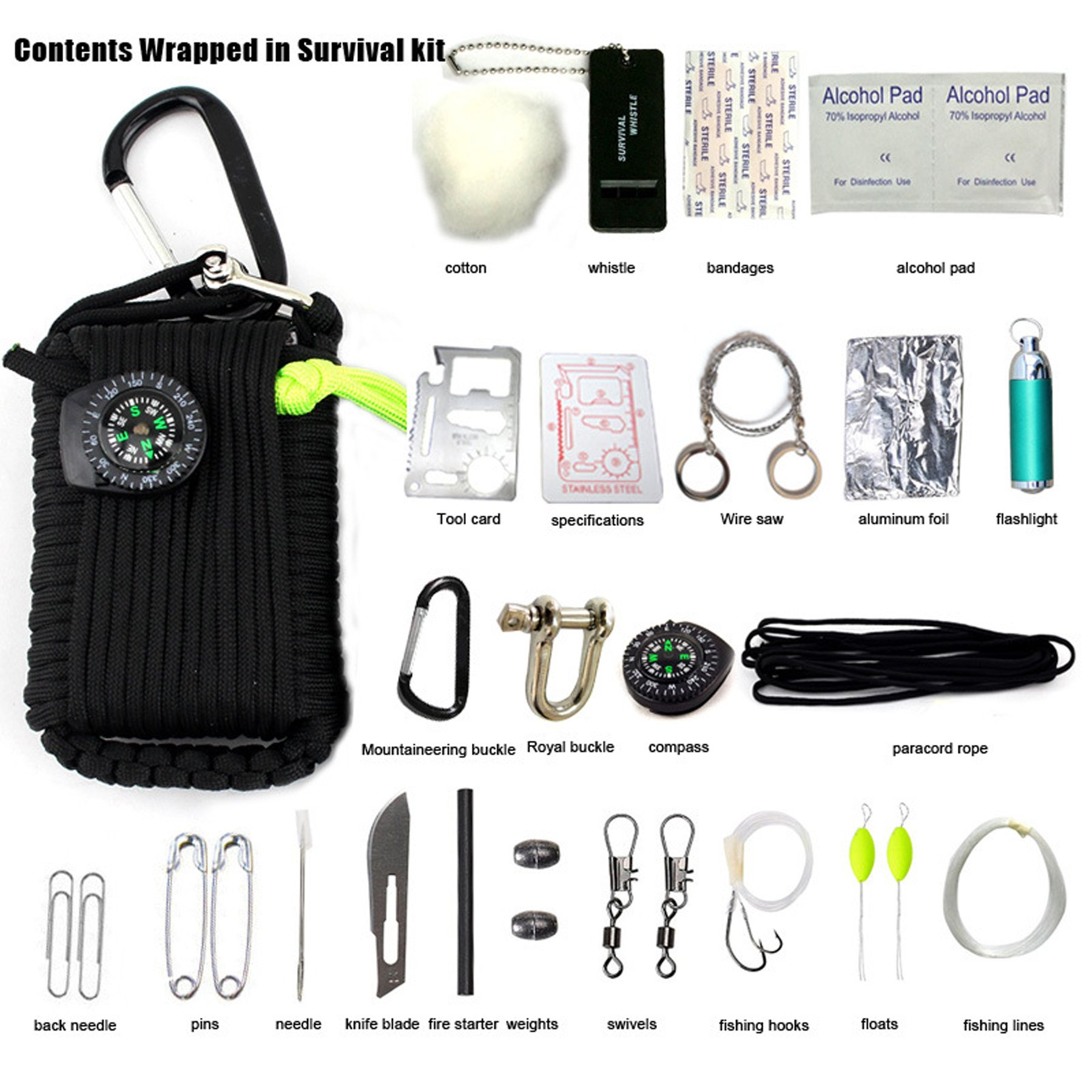 Micogo 29pcs Paracord Emergency Survival Kit,First Aid Kit & Emergency Fishing Gear Whistle Fire Starter Set & more (Black)