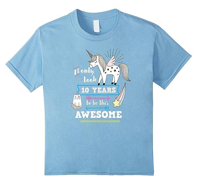 Kids Cute Unicorn Birthday Shirt For 10 Year Old Girl 4 Baby Blue