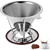Pour Over Coffee Maker - Clever Coffee Dripper - Reusable Coffee Filter Permanent Stainless Steel Paperless Drip Cone 4-6 Cup for Osaka Chemex Hario Bodum Carafes with Cup Stand Holder