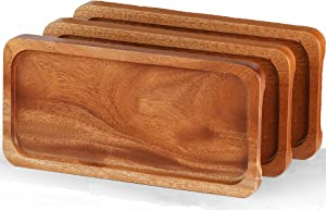 "FANICHI Solid Natural Wood Serving Trays and Platters (Set of 3, 14.5""x7"") Highly Durable Dishwasher Safe, Perfect for Food Holder/BBQ/Avoid Sliding Spilling Food with Easy Carry Grooved Handle Design"