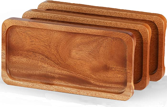 """FANICHI Solid Natural Wood Serving Trays and Platters (Set of 3, 14.5""""x7"""") Highly Durable Dishwasher Safe, Perfect for Food Holder/BBQ/Avoid Sliding Spilling Food with Easy Carry Grooved Handle Design"""