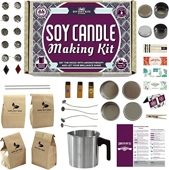 209PCS Soy Candle Making Kit Complete Candles Art and Craft Tool with Soy Wax Candle Wicks Candle Wick Stickers 3-Hole Wick Holder Candle Tins and Dried Flowers DIY Candle Making Supplies