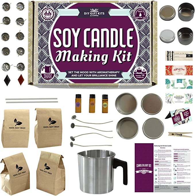 Amazon Com Soy Candle Making Kit For Adults And Teens 49 Piece Set Easy To Make Essential Oil Scented Wax Candles Health Personal Care