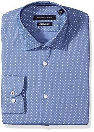 03c2014e Tommy Hilfiger Men's Dress Shirts Stretch Slim Fit Print Spread Collar at Amazon  Men's Clothing store: