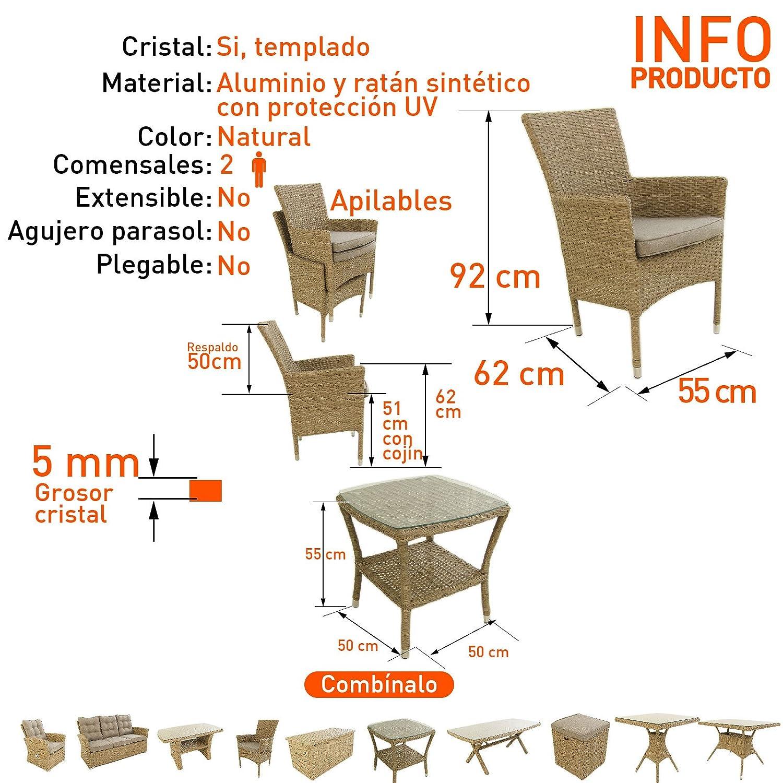 Conjunto Muebles jardín, 2 sillones apilables y 1 Mesa Auxiliar, 2 plazas, Aluminio y rattán sintético Plano Color Natural