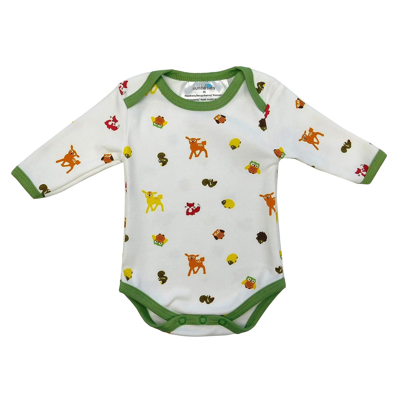 Size 74cm//6-9 Months Slumbersac Baby Bodysuit Long Sleeve Forest Friends 3 Pack