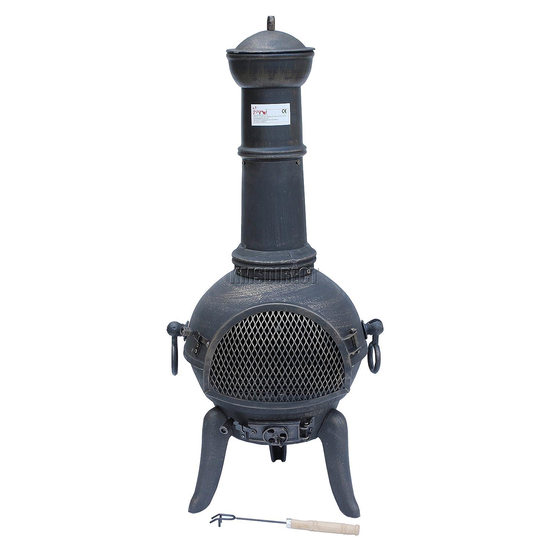 FoxHunter Cast Iron Steel Chimenea Chiminea Chimnea Patio Heater Fire Pit Gold Antique Garden Outdoor New KMS