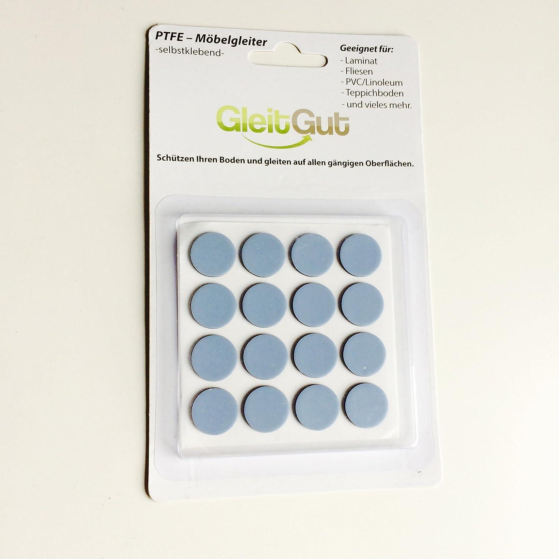 16 x PTFE/Teflon glides self-adhesive round 17 mm - ultra thin 1, 5 mm - sliders glider GleitGut GmbH