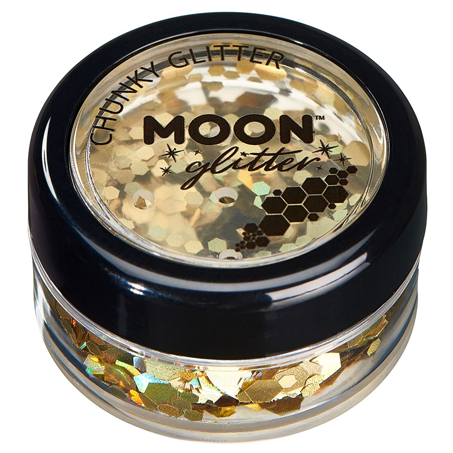 Holographic Chunky Glitter by Moon Glitter – 100% Cosmetic Glitter for Face, Body, Nails, Hair and Lips - 0.10oz - Black