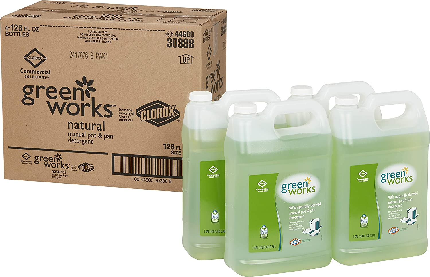 Clorox Commercial Solutions Green Works Manual Pot & Pan Dishwashing Liquid, 128 Ounces Each (Pack of 4) (30388)