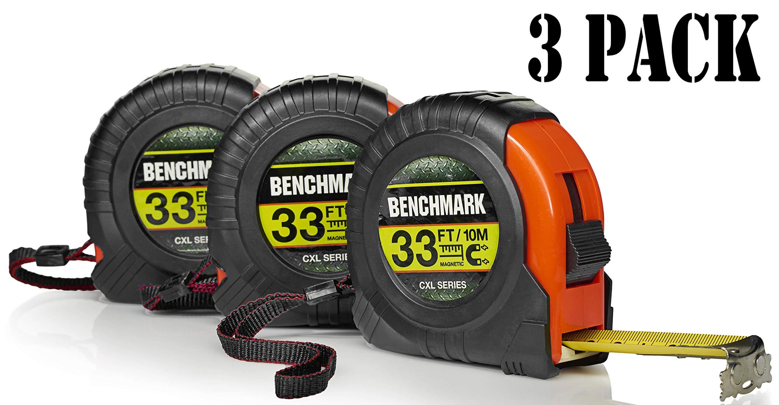 3 PACK - 33 Foot Tape Measure - Benchmark CXL Series - Measuring Tape/Tape Measures