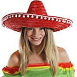 MEXICAN STRAW SOMBRERO HAT MENS OR LADIES IDEAL FANCY DRESS *FREE MUSTACHE*