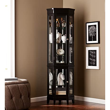 BLACK LIGHTED CORNER CURIO CABINET For Living Room, Christmas ,New Year U0026  Valentine Gift