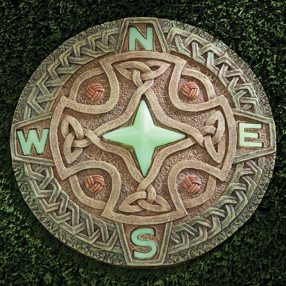 Amazon.com : Bits and Pieces - Celtic Compass Glow Garden Stone ...