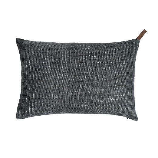 Black Velvet Studio Funda cojín Elegance 25% algodón y 75% poliéster, Color Verde grisáceo. Jaspeado, Tejido Rico en Textura 30x45 cm.