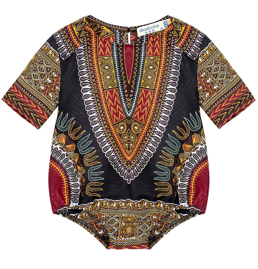 Shenbolen Kids African Dashiki Print Jumpsuits Piece Pants Clothing (X-Small, A)