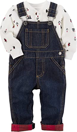 6b061c8bb5271 Carter's Baby Boys' 2 Piece Penguin Bodysuit and Overalls Set Denim ...