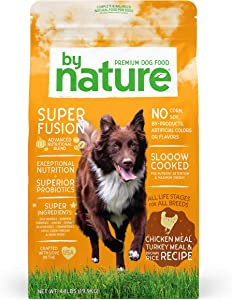 By Nature Pet Foods Dog Food Made in USA [Natural Dry Dog Food with Superfood Ingredients for Food Sensitivities and Immune Health], Chicken & Turkey Meal with Brown Rice Recipe, 44 lb. Bag (77080)
