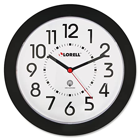 Lorell 60990 Wall Clock, 9 in., Arabic Numerals, White Dial Black Frame