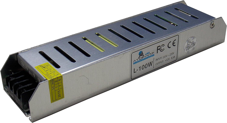 Fuente de alimentación 100w a 12 voltios. Transformador Slim para tira de led. (8 Amperios a 12 V) A++