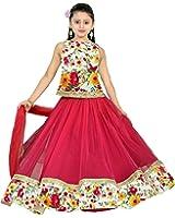 creativeswilla pinkbhaglpury 7-14years semistitched lehenghas with free size bhalpury blouse