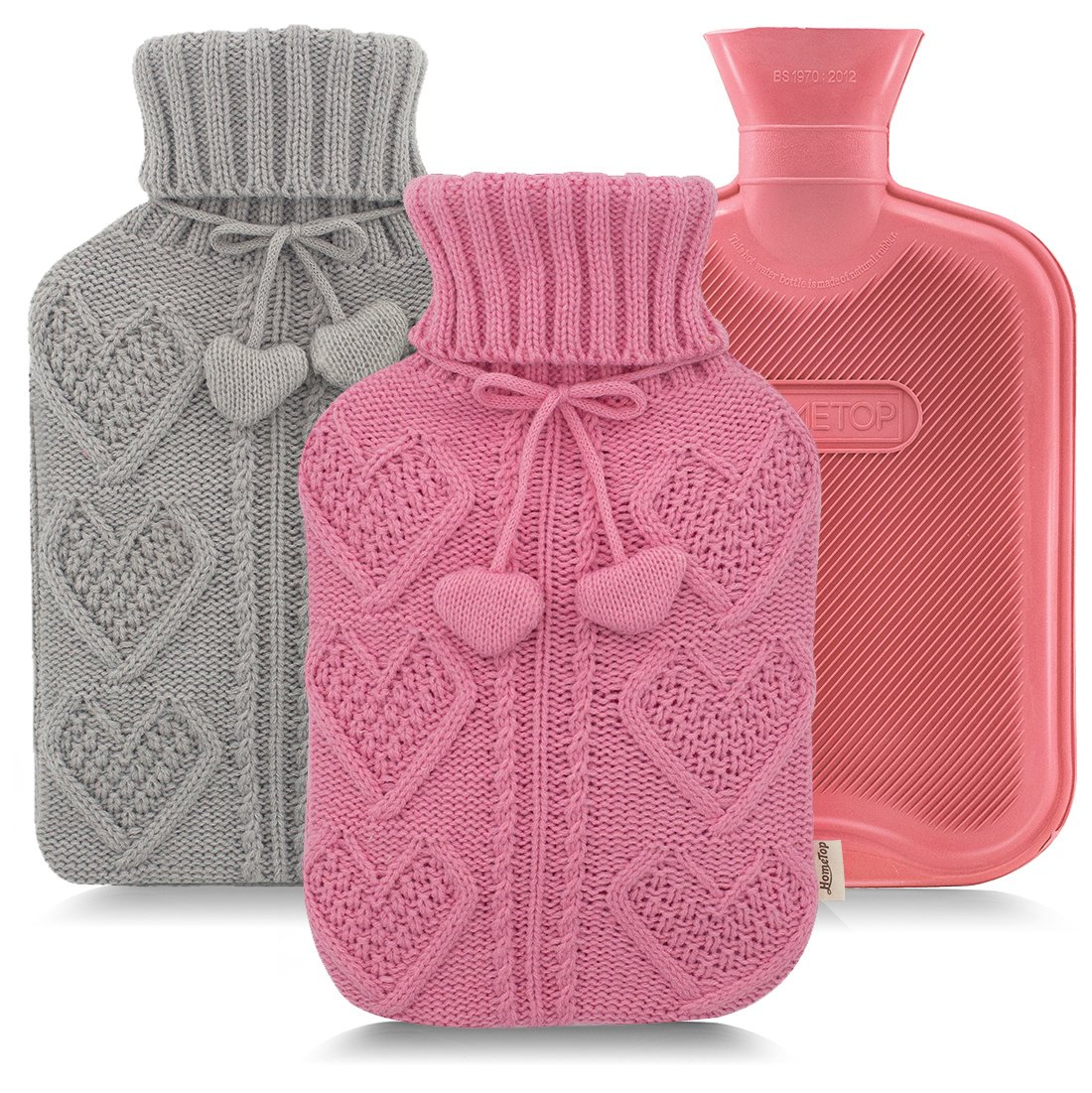 Premium Classic Rubber Hot Water Bottle and Heart Knit Cover (Gray + Pink)