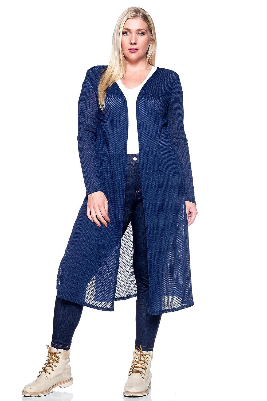 Hot Ginger Women's Plus Size Slit Cardigan Cobalt Blue 2X CDG-615X-51-CBLU-2X