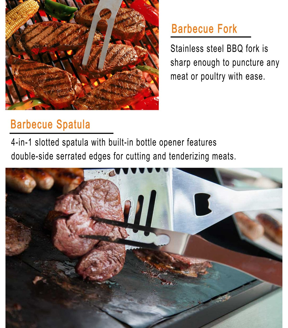 grilljoy 25 Piece BBQ Grill Tool Set- Premium Stainless Steel Grilling Accessories with Heat Proof Grip in Aluminum Case, Perfect BBQ Tools Set Gift for Father's Day, Birthday, Camping and Tailgating by grilljoy (Image #5)