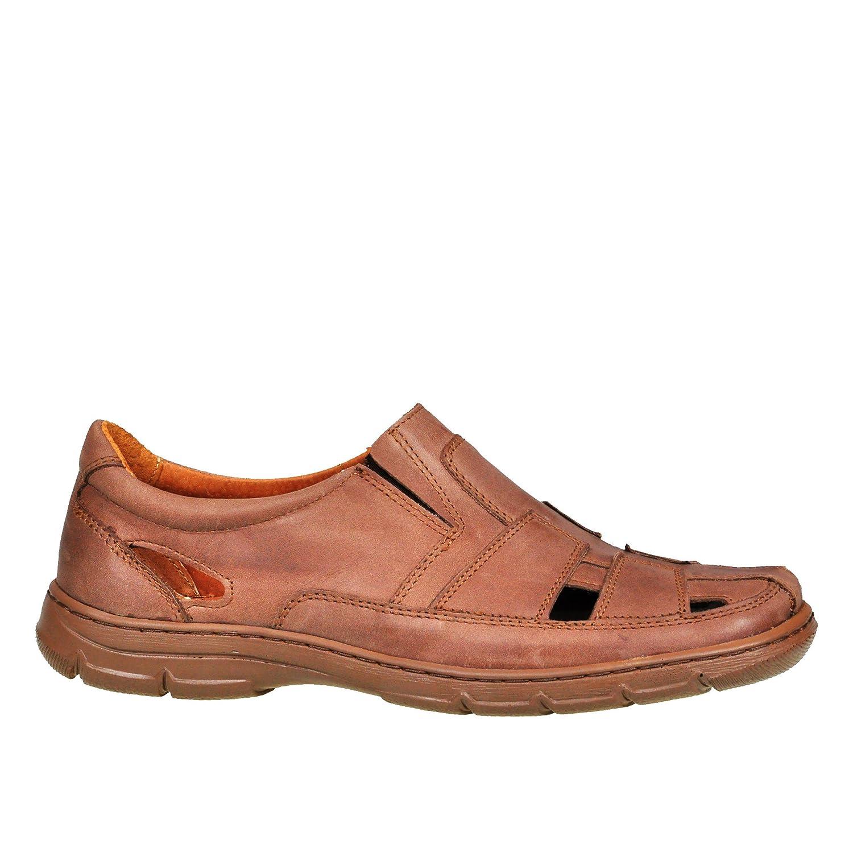 Lukpol Herren Sandalen Schuhe Aus Buffelleder mit Orthopadischen Einlage Modell-1059  41 EU|Hell Braun