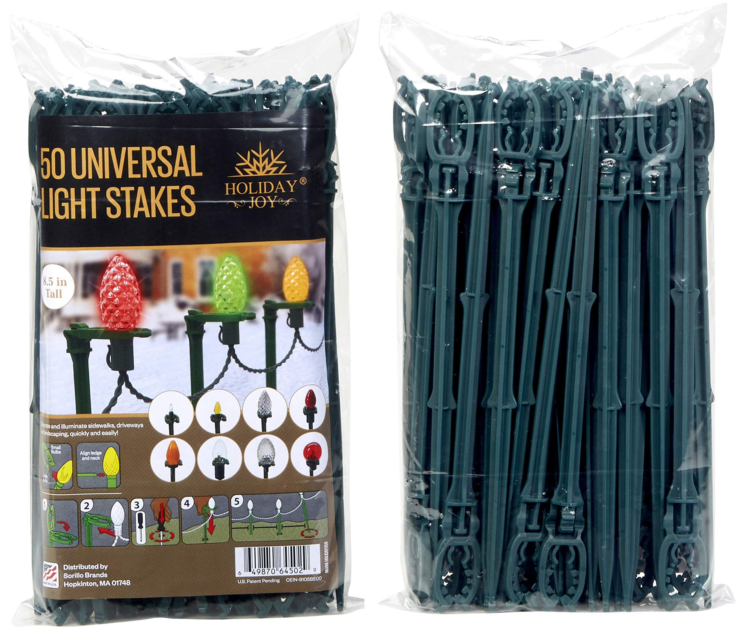 Holiday Joy - 50 Universal Light Stakes Holiday String Lights on Yards, Driveways & Pathways - 8.5'' Tall - New Improved Model