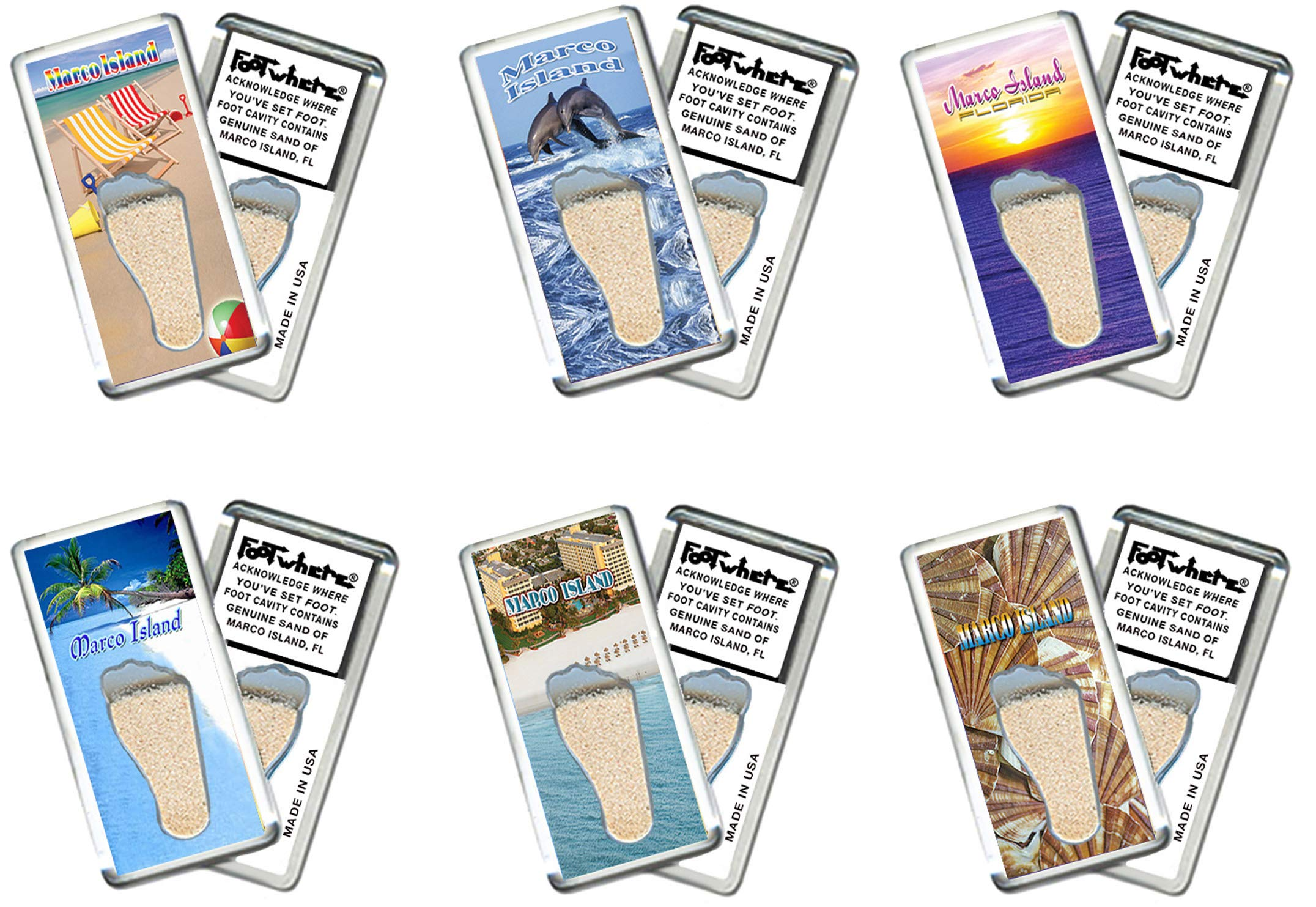 Marco Island, FL FootWhere Souvenir Fridge Magnets. 6 Piece Set. Made in USA by FootWhere