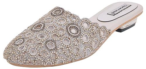 f2c32eaa355ec2 Charan Paduka Women s Silver Beaded Clogs- 10 U.K  Buy Online at Low ...