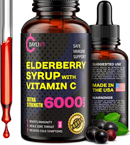Elderberry Syrup for Kids Adults – Extra Strength Sambucus Black Elderberry Syrup – Elderberry Syrup Organic Immune-Support Supplement – Sambucus Nigra Fruit Extract with Vitamin C