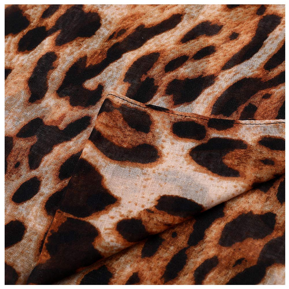 Women Large Leopard Animal Print Lightweight Soft-touch Rectangle Everyday Scarf 90x180cm