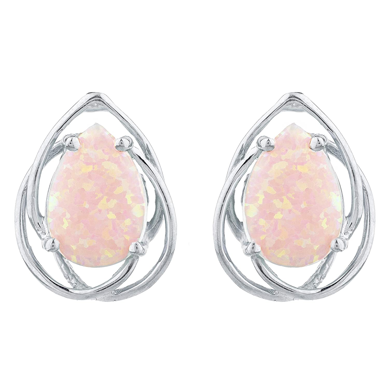 Opal 10x7mm Pear Shapes Stud Earrings White Gold Silver