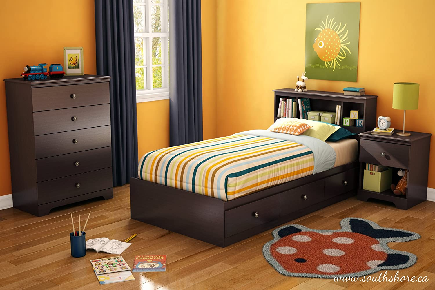 Amazon.com: South Shore Zach 5 Drawer Chest, Chocolate: Kitchen U0026 Dining