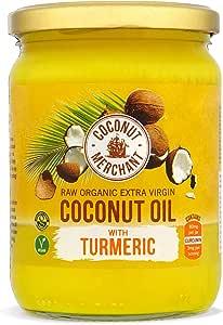 Aceite de coco orgánico con cúrcuma 500 ml Coconut Merchant   Virgen Extra, Crudo, prensado en frío, sin refinar   Producido de forma Ética, Vegano, dieta Keto y 100% Natural Para Cocinar, 500ml