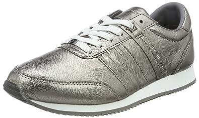 P1285hoenix 8c3, Sneakers Basses Femme, Argent (Dark Silver), 36 EUTommy Hilfiger