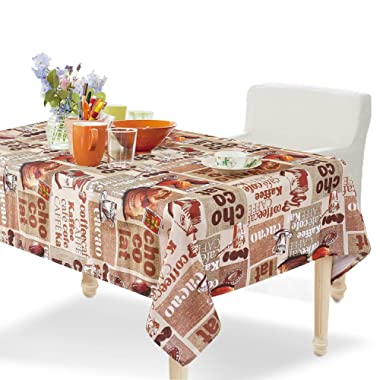 YEMYHOM Modern Printed Spill Proof Cloth Rectangle Tablecloth (60 x 84, Coffee Beans)