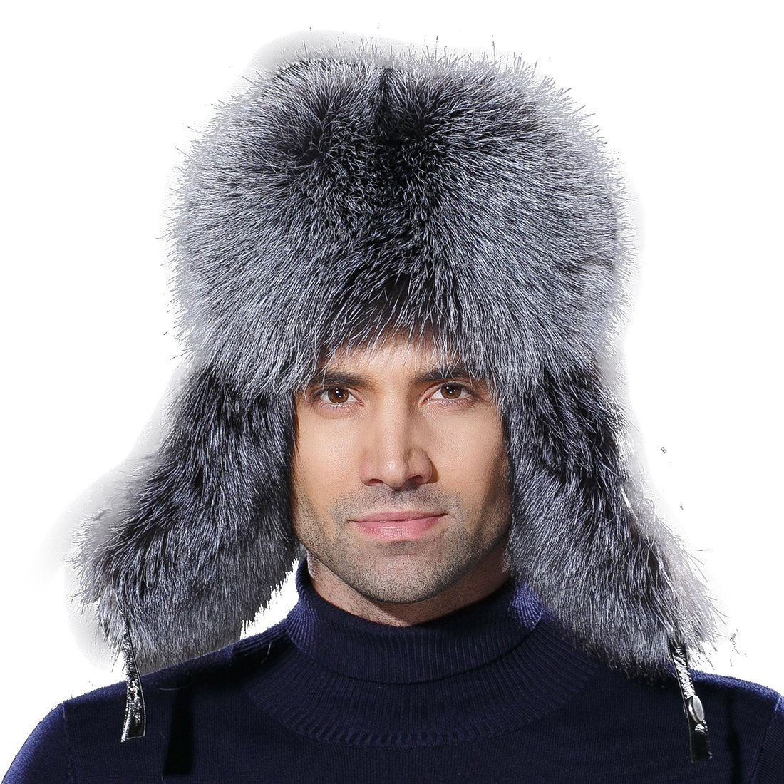 URSFUR Winter Russian Fur Hat Mens Real Silver Fox Fur Ushanka Trapper Cap by URSFUR (Image #2)