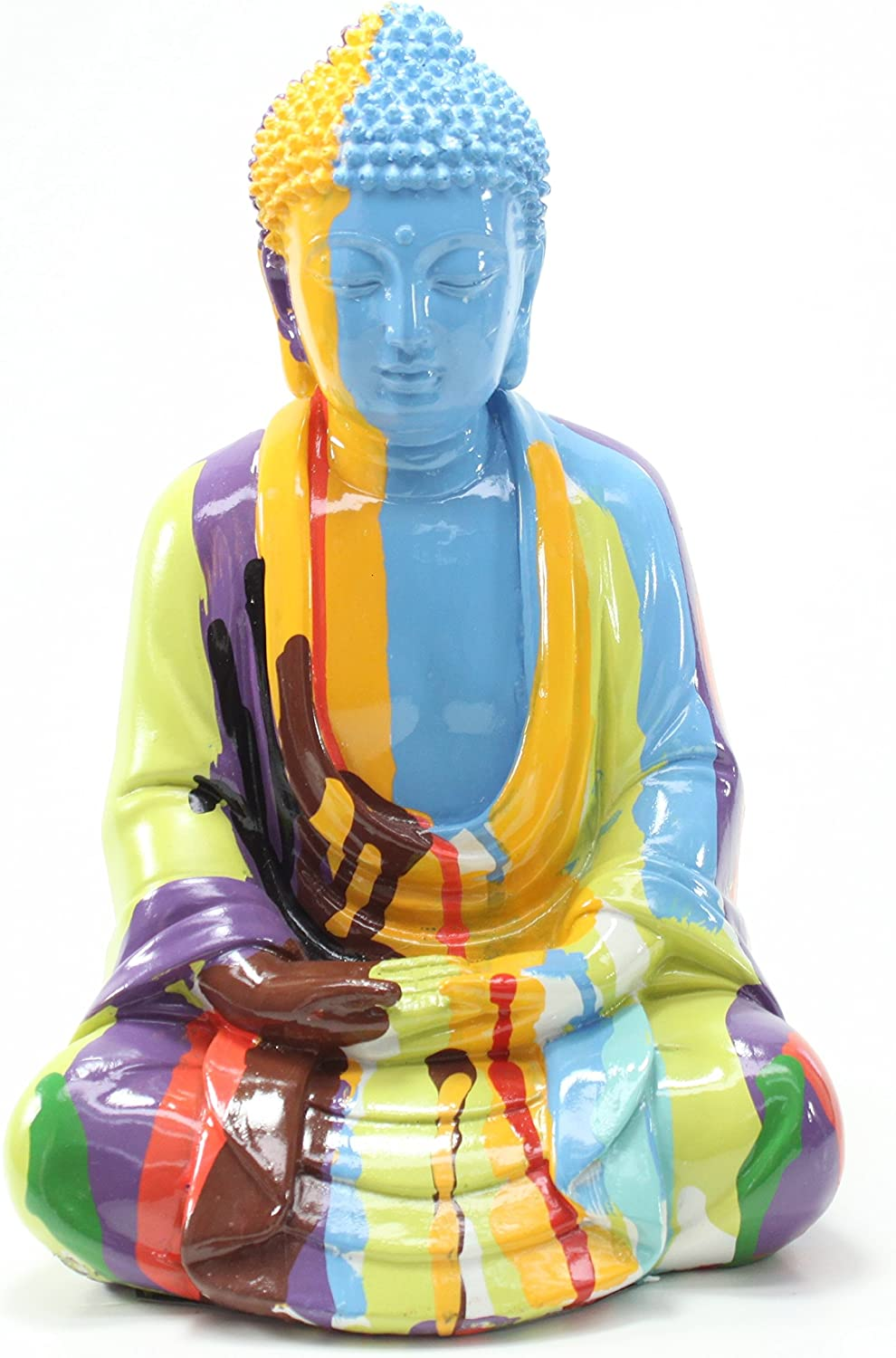 "10""(H) Colorful Shakyamuni Meditating Buddha Feng Shui Figurines Peace Luck Prosperity Statues Home Decor Housewarming Gift (G16535-Meditating Buddha)"