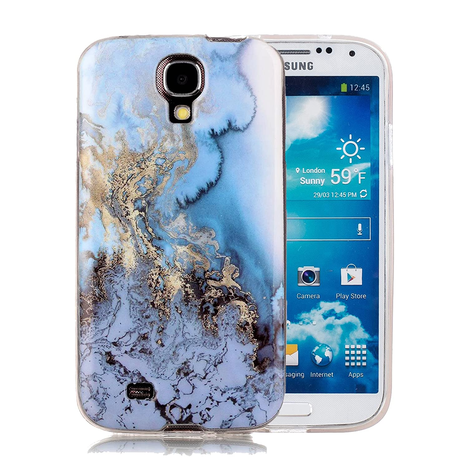 Galaxy S4 Marble Case, Harsel Ultra Thin Premium Stone Texture Collection Hybrid Flexible Light Weight Soft TPU Bumper Anti-Scratch Protective Durable ...