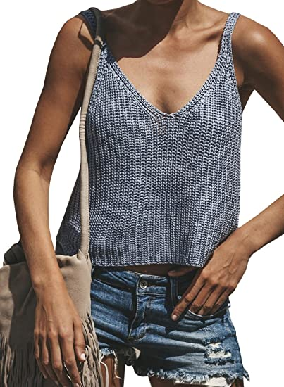 ecefa857545fbd Image Unavailable. Image not available for. Color  Jiujiuyi Womens V Neck  Backless Knit Tank Tops Spaghetti Strap ...