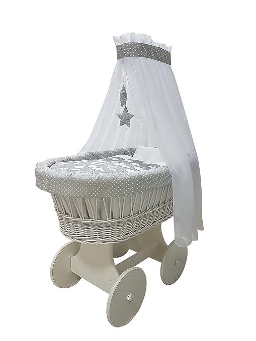 babymajawelt® Moisés Juego completo 10 piezas, incluye colchón, carretillas de carro con ruedas