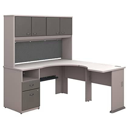 huge selection of de5fb 0d223 Bush Business Furniture Series A 60W x 65D L Shaped Desk with Hutch and 2  Drawer Pedestal in Pewter and White Spectrum