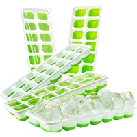 Ice Cube Trays (5 Pack) with Clear Lids - BPA Free Flexible Silicone No Spill Tray - 14 Ice Cube Molds (4 x 2.5 x 2.5cm Cube Size) - Stackable Trays for Baby Food, Water, Cocktail Parties (Green)