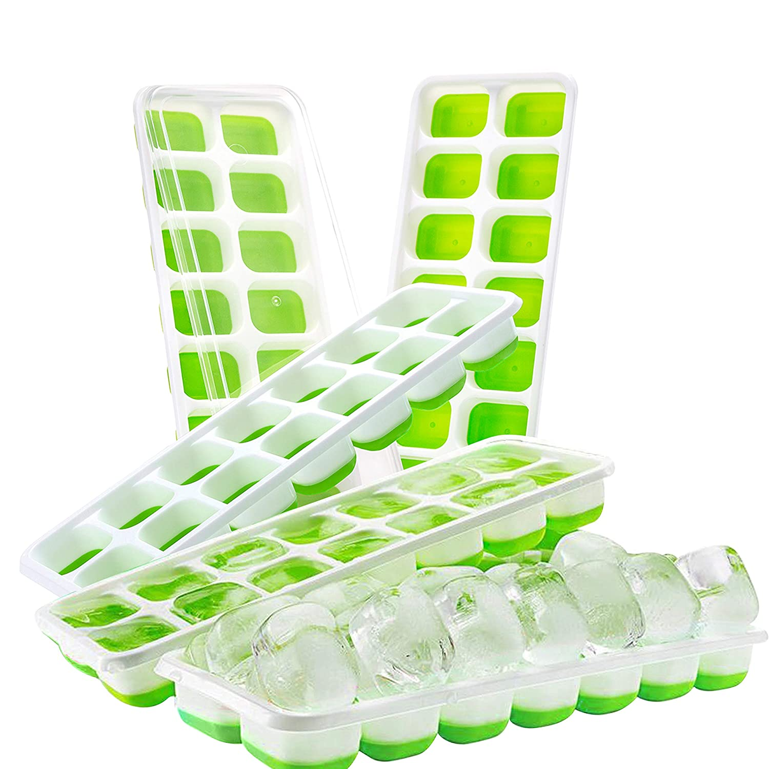 with Clear Removable Lids for Easy Stackable Water BPA Free Flexible Easy Release Ice Cube Moulds Green Cocktails Best for Freezer Baby Food Ice Cube Trays Whiskey 5 Pack