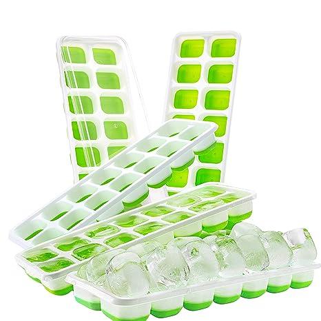 Kurtzy Bandejas de Cubitos de Hielo (Paquete de 5) con Tapa - Sin BPA Bandejas de Hielo Silicona con 14 Cubos de Hielos por Bandeja - Ideal para ...